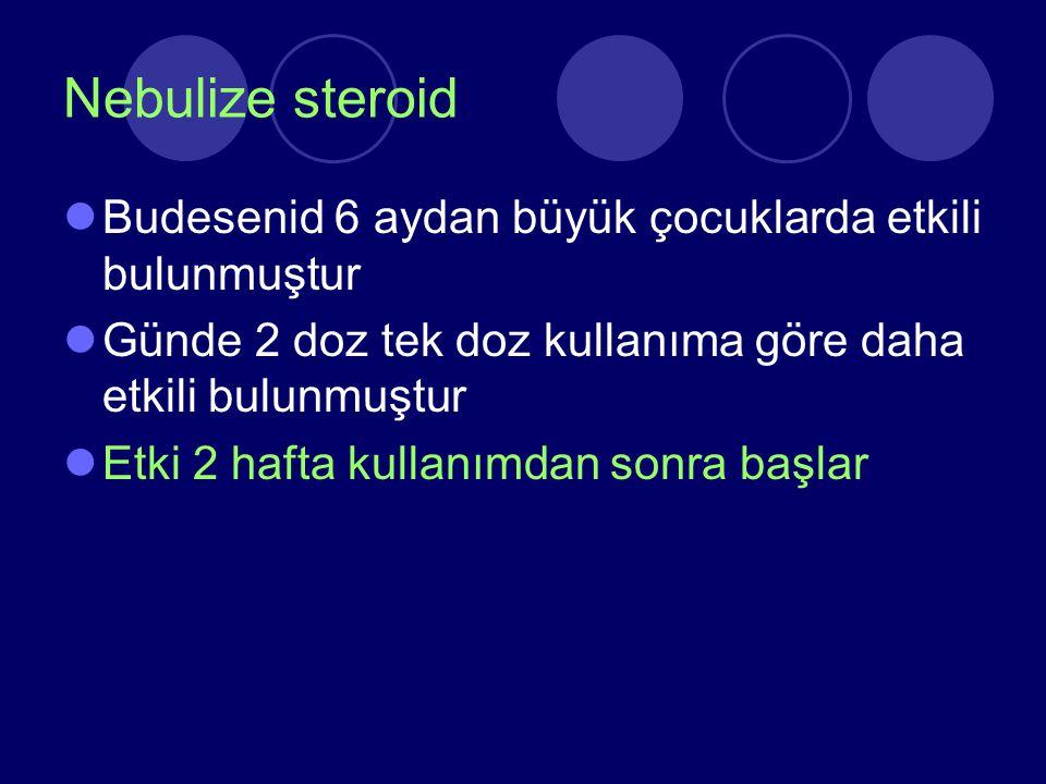 Nebulize steroid Budesenid 6 aydan büyük çocuklarda etkili bulunmuştur Günde 2 doz tek doz kullanıma göre daha etkili bulunmuştur Etki 2 hafta kullanı