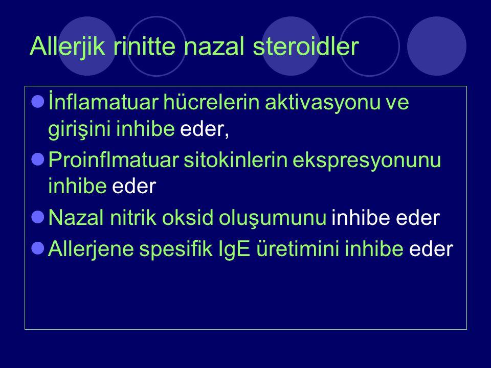 Allerjik rinitte nazal steroidler İnflamatuar hücrelerin aktivasyonu ve girişini inhibe eder, Proinflmatuar sitokinlerin ekspresyonunu inhibe eder Naz