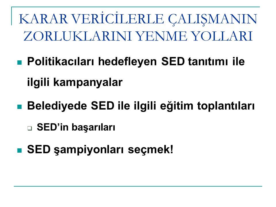 KARAR VERİCİLERLE ÇALIŞMANIN ZORLUKLARINI YENME YOLLARI Politikacıları hedefleyen SED tanıtımı ile ilgili kampanyalar Belediyede SED ile ilgili eğitim