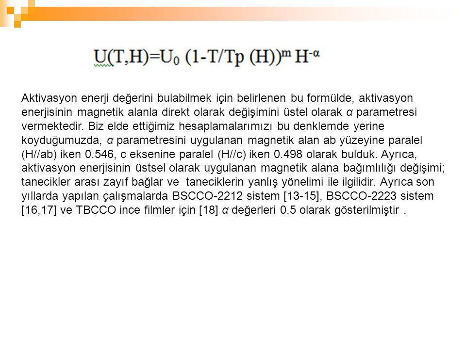 Aktivasyon enerji değerini bulabilmek için belirlenen bu formülde, aktivasyon enerjisinin magnetik alanla direkt olarak değişimini üstel olarak α para