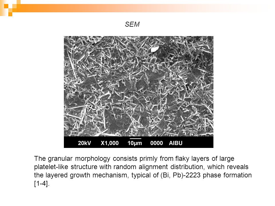 SEM The granular morphology consists primly from flaky layers of large platelet-like structure with random alignment distribution, which reveals the layered growth mechanism, typical of (Bi, Pb)-2223 phase formation [1-4].