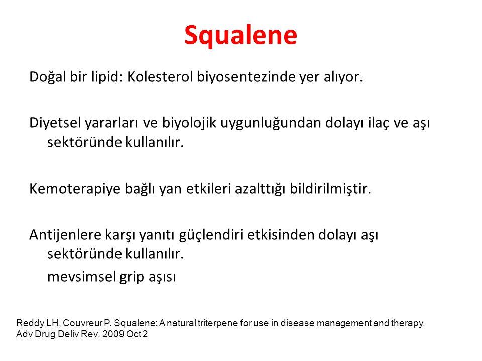 Squalene Doğal bir lipid: Kolesterol biyosentezinde yer alıyor. Diyetsel yararları ve biyolojik uygunluğundan dolayı ilaç ve aşı sektöründe kullanılır