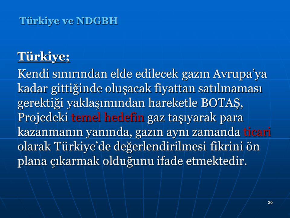 27 Türkiye; Ancak, gaz fiyatının serbest rekabet ortamında belirlenmesi, Türkiye'nin ancak rakiplerinden daha fazla fiyat önermesi ile gazı alabileceği gerçeğini ortaya çıkartır.