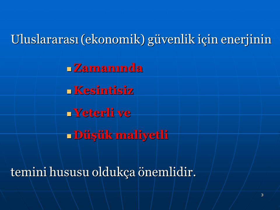 3 Uluslararası (ekonomik) güvenlik için enerjinin Zamanında Zamanında Kesintisiz Kesintisiz Yeterli ve Yeterli ve Düşük maliyetli Düşük maliyetli temi
