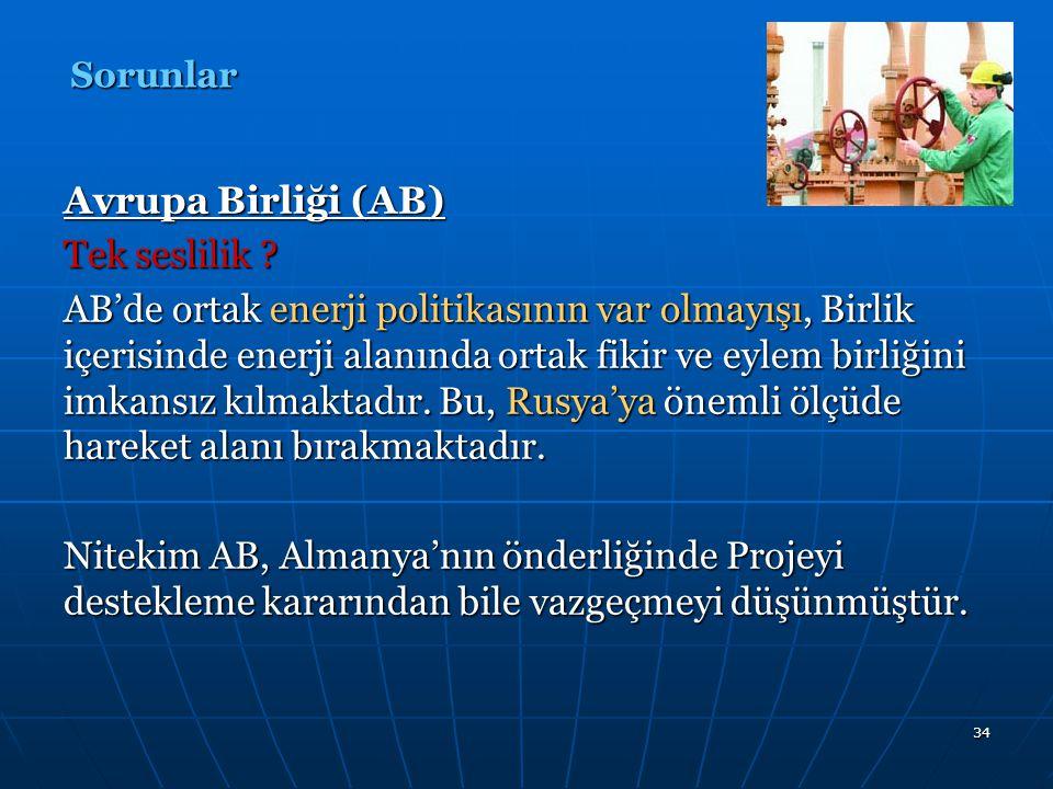 35 Türkiye-AB-NDGBHP AB içerisinde Projeye karşı isteksiz davranan ülkelerin aslında Türkiye'nin AB'ye dahil olmasını istemeyen ülkeler olması, AB-Türkiye-NBDGBH Projesi arasındaki ilişkinin niteliğini ortaya koymaktadır.