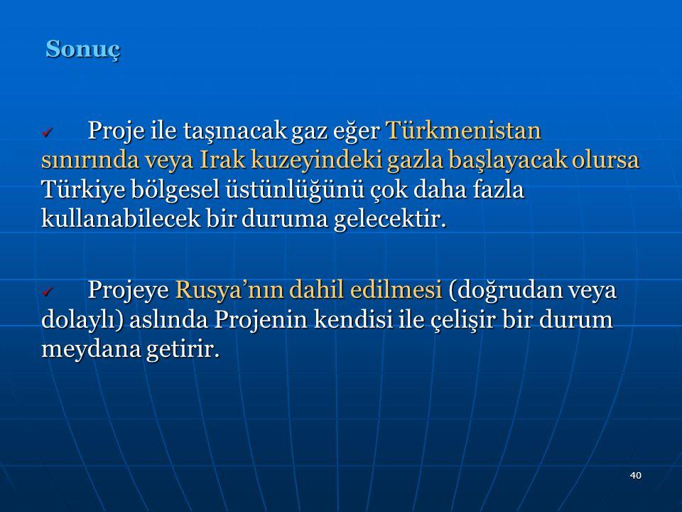 40 Proje ile taşınacak gaz eğer Türkmenistan sınırında veya Irak kuzeyindeki gazla başlayacak olursa Türkiye bölgesel üstünlüğünü çok daha fazla kulla