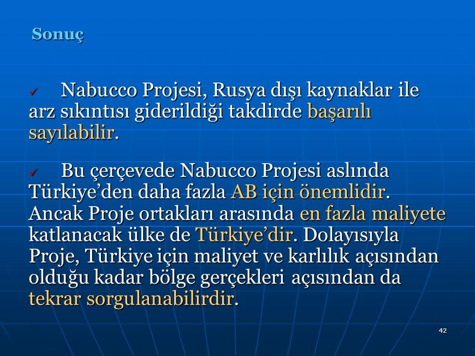 42 Nabucco Projesi, Rusya dışı kaynaklar ile arz sıkıntısı giderildiği takdirde başarılı sayılabilir. Nabucco Projesi, Rusya dışı kaynaklar ile arz sı
