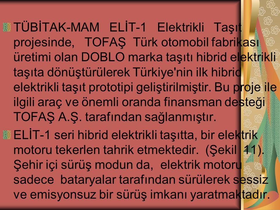 TÜBİTAK-MAM ELİT-1 Elektrikli Taşıt projesinde, TOFAŞ Türk otomobil fabrikası üretimi olan DOBLO marka taşıtı hibrid elektrikli taşıta dönüştürülerek Türkiye nin ilk hibrid elektrikli taşıt prototipi geliştirilmiştir.