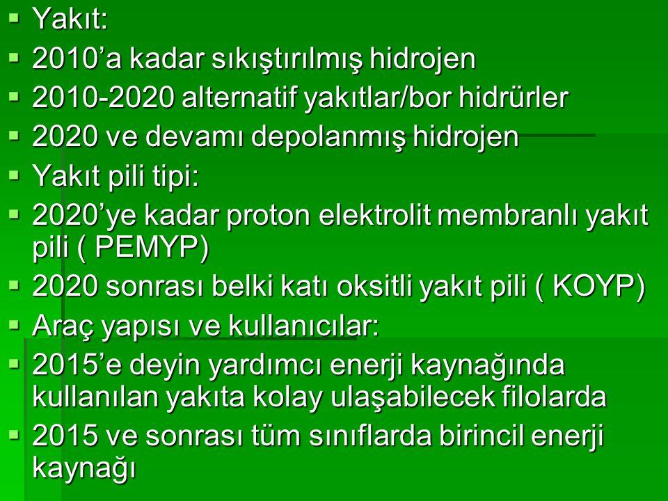  Yakıt:  2010'a kadar sıkıştırılmış hidrojen  2010-2020 alternatif yakıtlar/bor hidrürler  2020 ve devamı depolanmış hidrojen  Yakıt pili tipi:  2020'ye kadar proton elektrolit membranlı yakıt pili ( PEMYP)  2020 sonrası belki katı oksitli yakıt pili ( KOYP)  Araç yapısı ve kullanıcılar:  2015'e deyin yardımcı enerji kaynağında kullanılan yakıta kolay ulaşabilecek filolarda  2015 ve sonrası tüm sınıflarda birincil enerji kaynağı