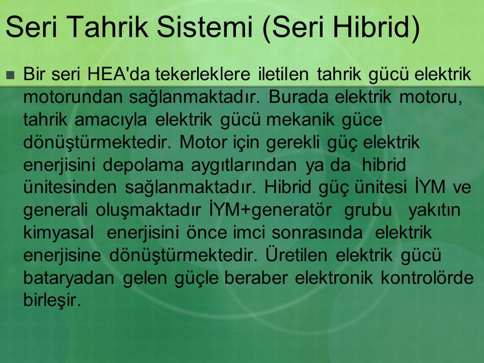 Seri Tahrik Sistemi (Seri Hibrid) Bir seri HEA'da tekerleklere iletilen tahrik gücü elektrik motorundan sağlanmaktadır. Burada elektrik motoru, tahrik