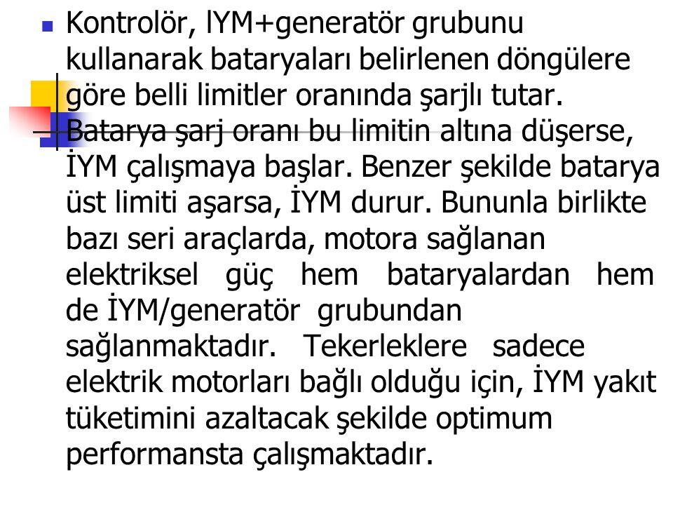 Kontrolör, lYM+generatör grubunu kullanarak bataryaları belirlenen döngülere göre belli limitler oranında şarjlı tutar. Batarya şarj oranı bu limitin
