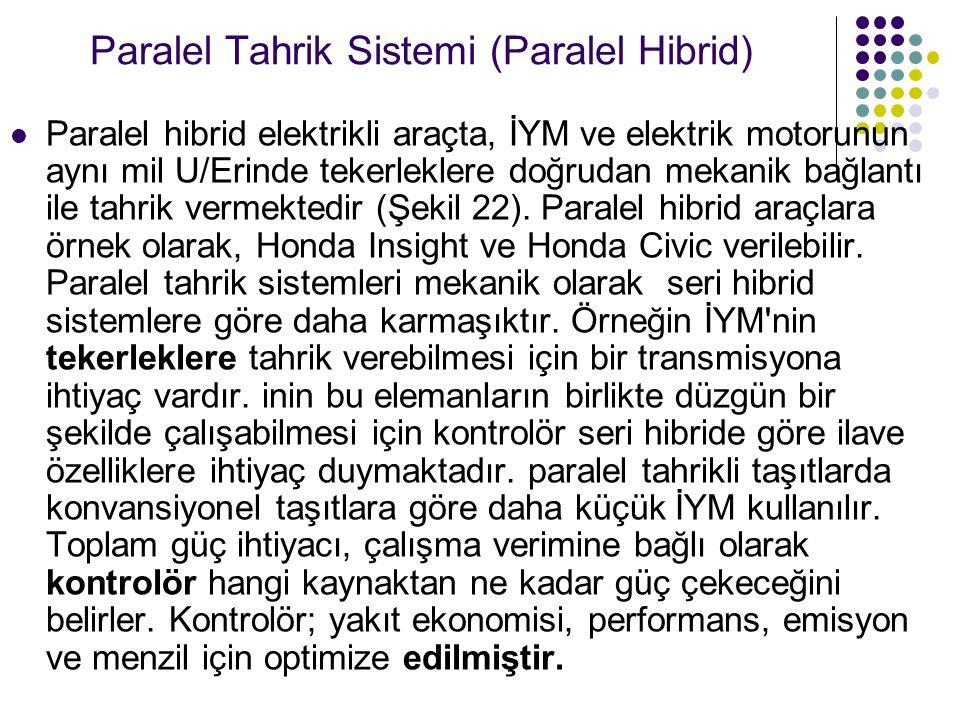 Paralel Tahrik Sistemi (Paralel Hibrid) Paralel hibrid elektrikli araçta, İYM ve elektrik motorunun aynı mil U/Erinde tekerleklere doğrudan mekanik bağlantı ile tahrik vermektedir (Şekil 22).