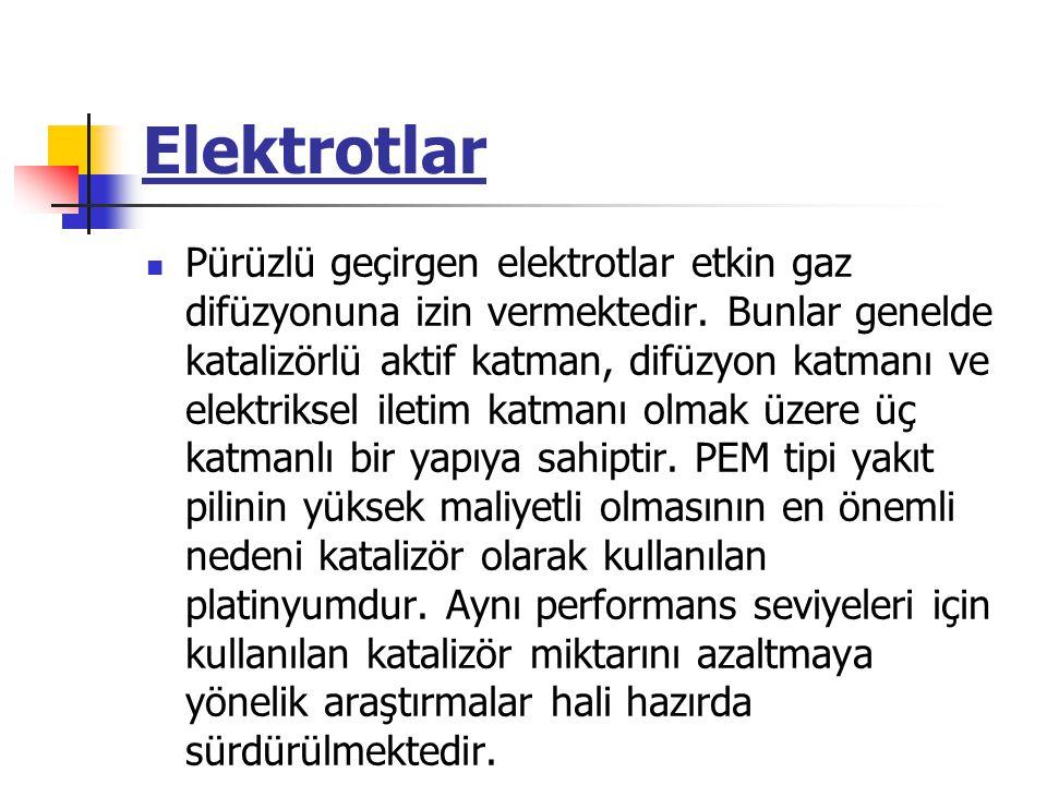 Elektrotlar Pürüzlü geçirgen elektrotlar etkin gaz difüzyonuna izin vermektedir. Bunlar genelde katalizörlü aktif katman, difüzyon katmanı ve elektrik