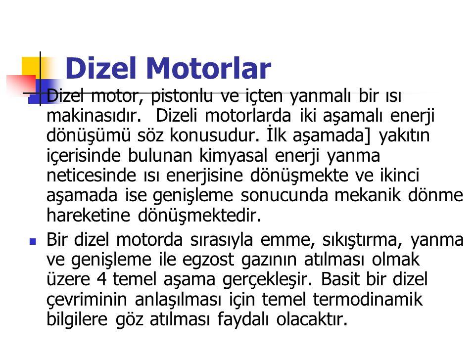 Dizel Motorlar Dizel motor, pistonlu ve içten yanmalı bir ısı makinasıdır. Dizeli motorlarda iki aşamalı enerji dönüşümü söz konusudur. İlk aşamada] y