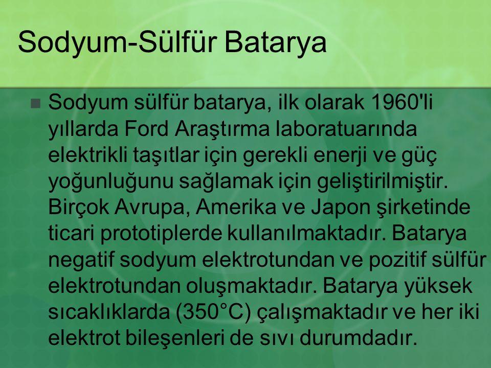 Sodyum-Sülfür Batarya Sodyum sülfür batarya, ilk olarak 1960 li yıllarda Ford Araştırma laboratuarında elektrikli taşıtlar için gerekli enerji ve güç yoğunluğunu sağlamak için geliştirilmiştir.