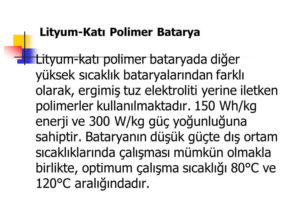 Lityum-Katı Polimer Batarya Lityum-katı polimer bataryada diğer yüksek sıcaklık bataryalarından farklı olarak, ergimiş tuz elektroliti yerine iletken polimerler kullanılmaktadır.