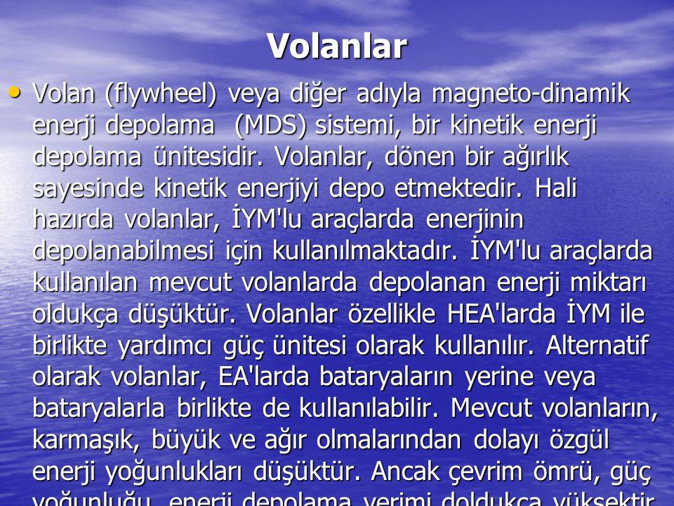 Volanlar Volan (flywheel) veya diğer adıyla magneto-dinamik enerji depolama (MDS) sistemi, bir kinetik enerji depolama ünitesidir. Volanlar, dönen bir