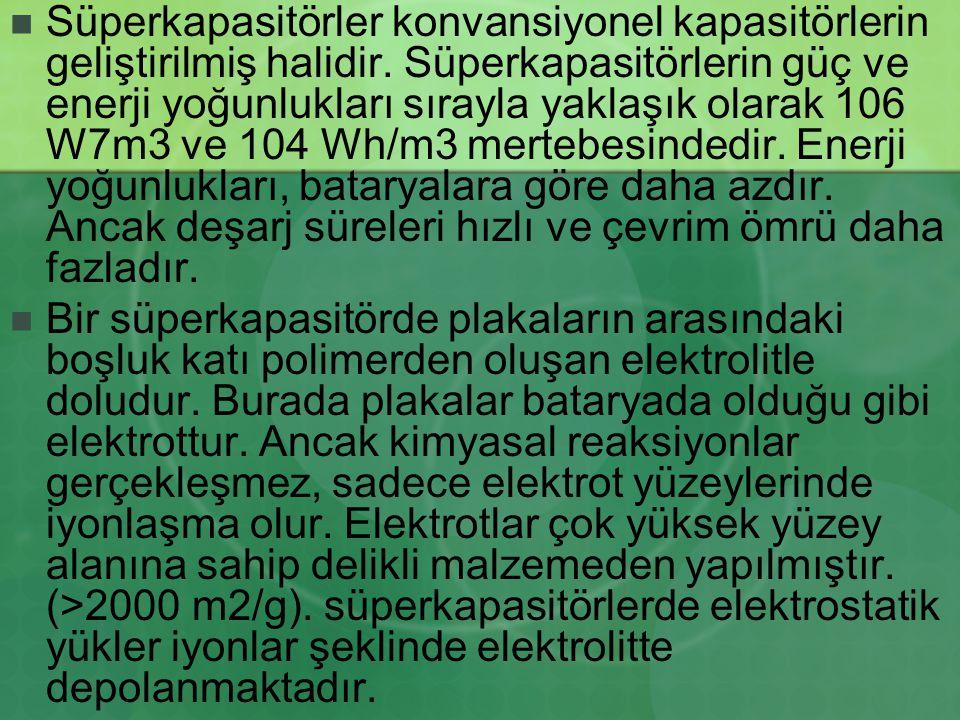Süperkapasitörler konvansiyonel kapasitörlerin geliştirilmiş halidir. Süperkapasitörlerin güç ve enerji yoğunlukları sırayla yaklaşık olarak 106 W7m3