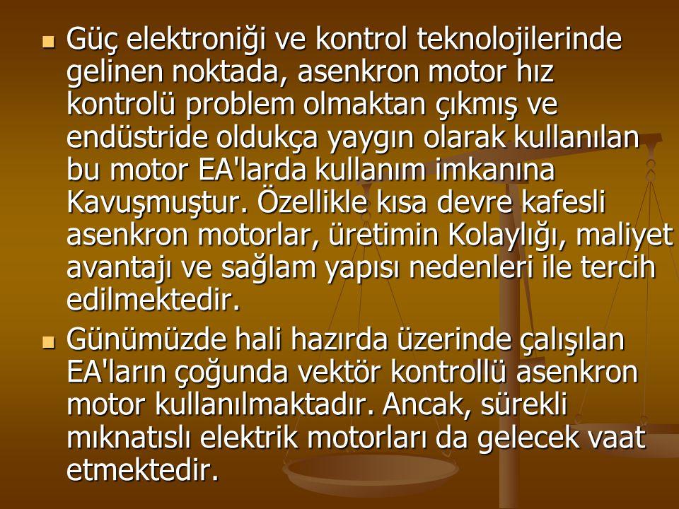 Güç elektroniği ve kontrol teknolojilerinde gelinen noktada, asenkron motor hız kontrolü problem olmaktan çıkmış ve endüstride oldukça yaygın olarak kullanılan bu motor EA larda kullanım imkanına Kavuşmuştur.