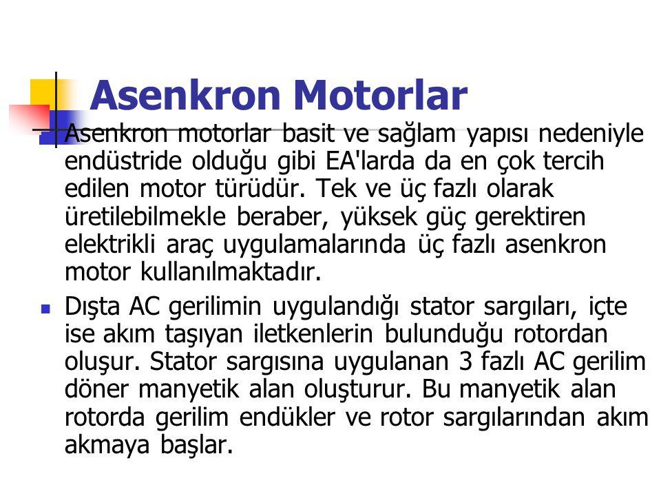 Asenkron Motorlar Asenkron motorlar basit ve sağlam yapısı nedeniyle endüstride olduğu gibi EA'larda da en çok tercih edilen motor türüdür. Tek ve üç