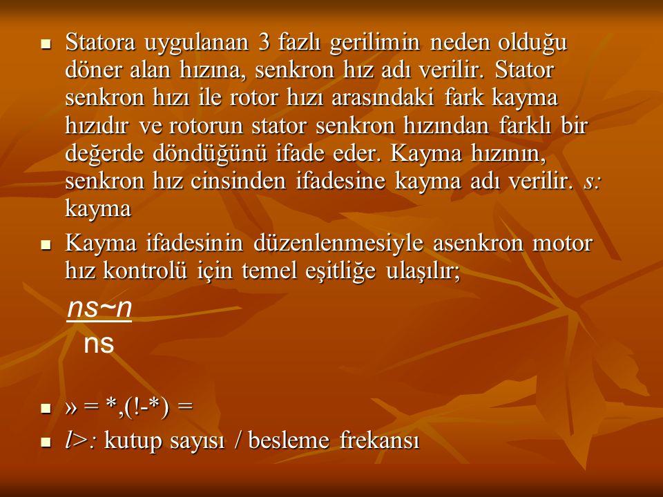 Statora uygulanan 3 fazlı gerilimin neden olduğu döner alan hızına, senkron hız adı verilir. Stator senkron hızı ile rotor hızı arasındaki fark kayma