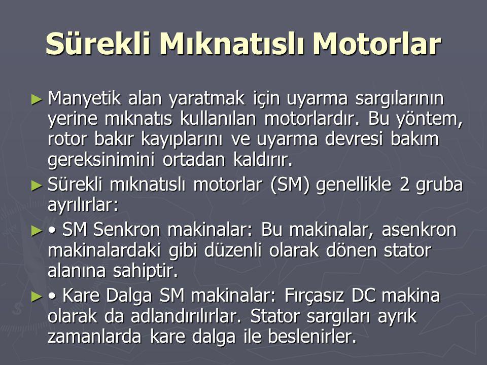 Sürekli Mıknatıslı Motorlar ► Manyetik alan yaratmak için uyarma sargılarının yerine mıknatıs kullanılan motorlardır. Bu yöntem, rotor bakır kayıpları