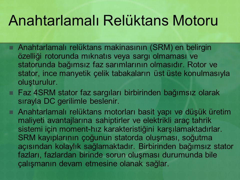 Anahtarlamalı Relüktans Motoru Anahtarlamalı relüktans makinasının (SRM) en belirgin özelliği rotorunda mıknatıs veya sargı olmaması ve statorunda bağımsız faz sarımlarının olmasıdır.