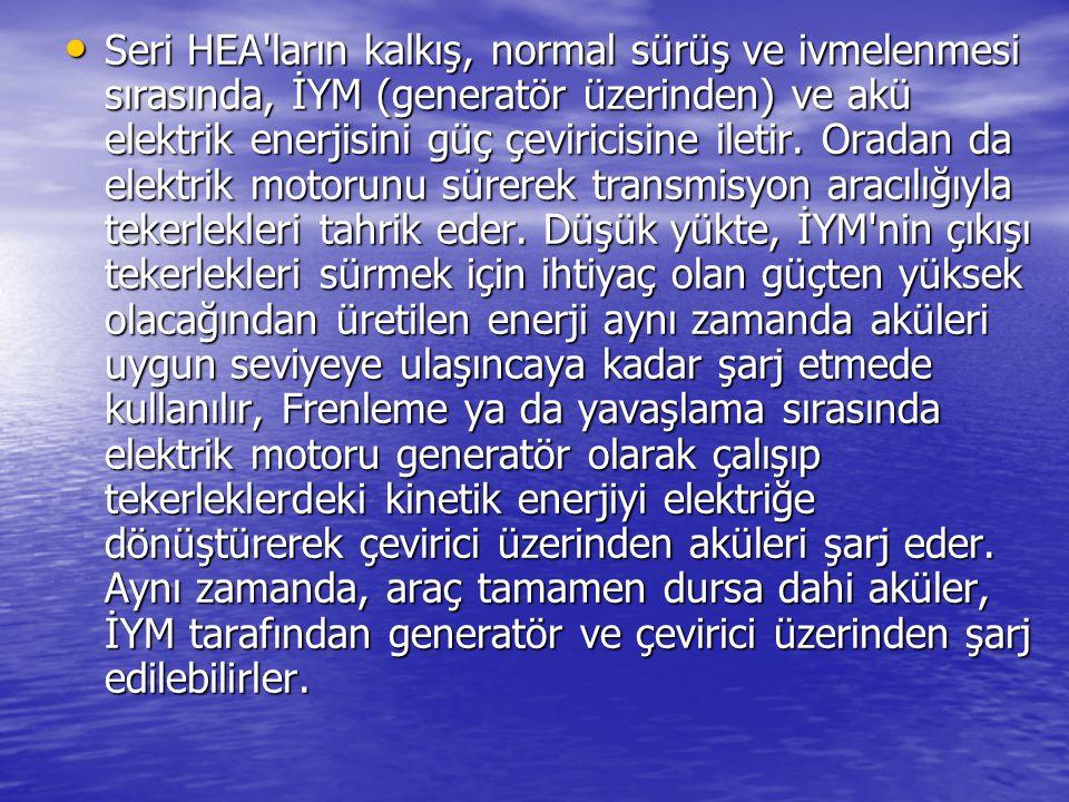 Seri HEA'ların kalkış, normal sürüş ve ivmelenmesi sırasında, İYM (generatör üzerinden) ve akü elektrik enerjisini güç çeviricisine iletir. Oradan da