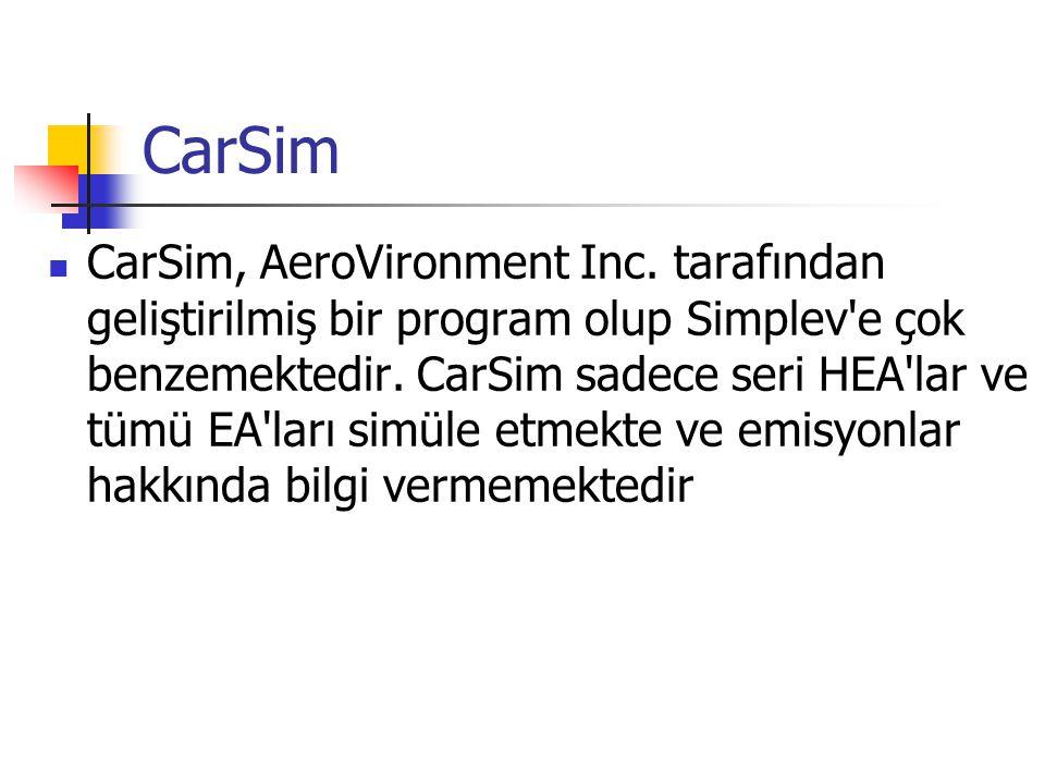 CarSim CarSim, AeroVironment Inc. tarafından geliştirilmiş bir program olup Simplev'e çok benzemektedir. CarSim sadece seri HEA'lar ve tümü EA'ları si