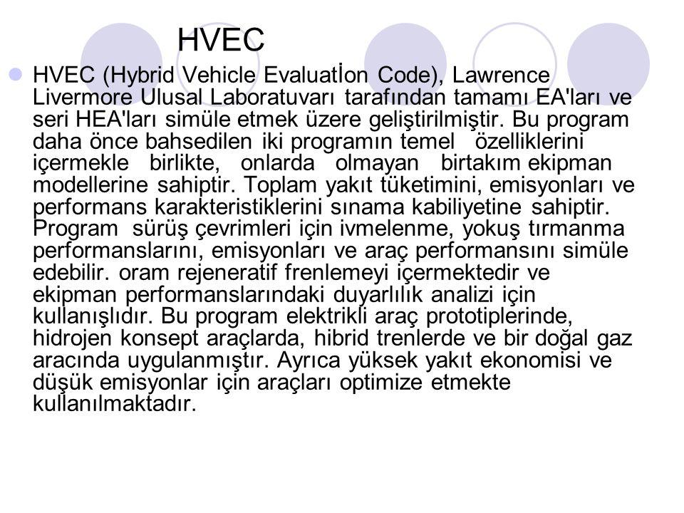 HVEC HVEC (Hybrid Vehicle Evaluatİon Code), Lawrence Livermore Ulusal Laboratuvarı tarafından tamamı EA ları ve seri HEA ları simüle etmek üzere geliştirilmiştir.