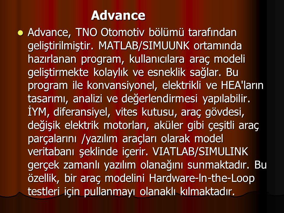 Advance Advance Advance, TNO Otomotiv bölümü tarafından geliştirilmiştir. MATLAB/SIMUUNK ortamında hazırlanan program, kullanıcılara araç modeli geliş