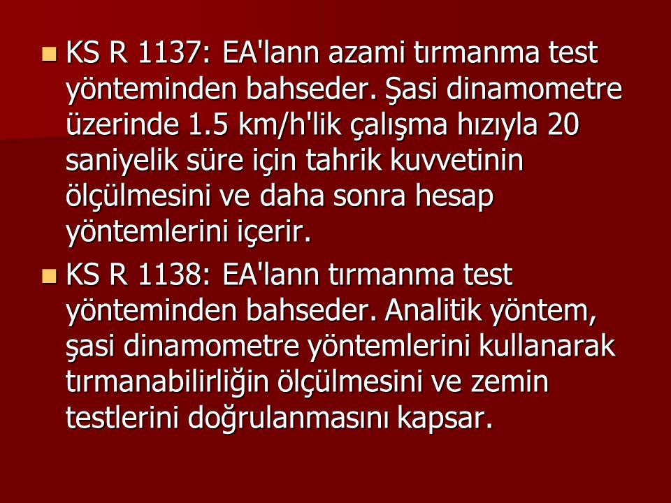 KS R 1137: EA lann azami tırmanma test yönteminden bahseder.