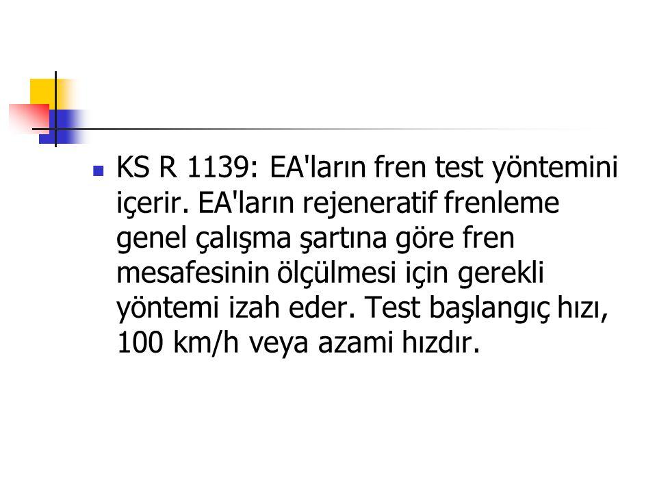 KS R 1139: EA'ların fren test yöntemini içerir. EA'ların rejeneratif frenleme genel çalışma şartına göre fren mesafesinin ölçülmesi için gerekli yönte