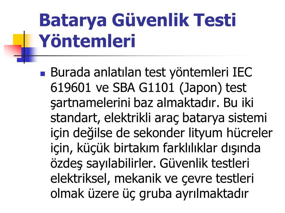 Batarya Güvenlik Testi Yöntemleri Burada anlatılan test yöntemleri IEC 619601 ve SBA G1101 (Japon) test şartnamelerini baz almaktadır.