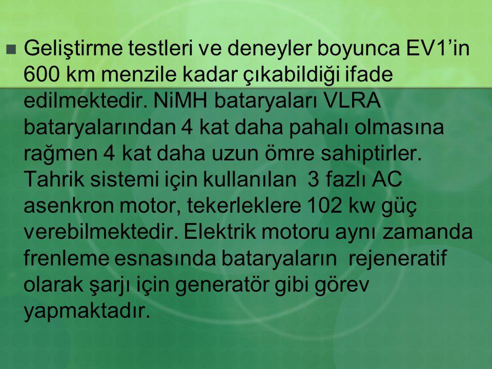 Geliştirme testleri ve deneyler boyunca EV1'in 600 km menzile kadar çıkabildiği ifade edilmektedir. NiMH bataryaları VLRA bataryalarından 4 kat daha p