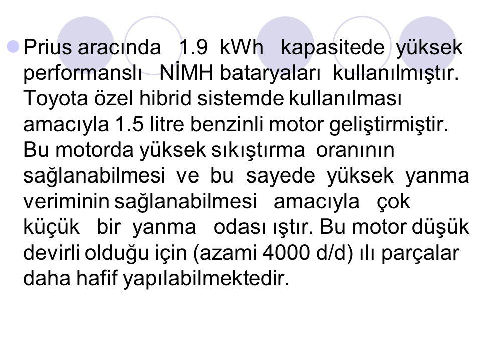 Prius aracında 1.9 kWh kapasitede yüksek performanslı NİMH bataryaları kullanılmıştır. Toyota özel hibrid sistemde kullanılması amacıyla 1.5 litre ben