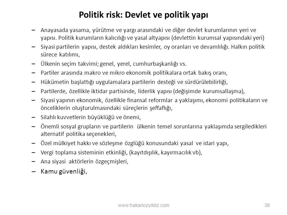 Politik risk: Devlet ve politik yapı – Anayasada yasama, yürütme ve yargı arasındaki ve diğer devlet kurumlarının yeri ve yapısı. Politik kurumların k