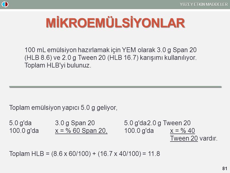 YÜZEY ETKİN MADDELER 81 MİKROEMÜLSİYONLAR 100 mL emülsiyon hazırlamak için YEM olarak 3.0 g Span 20 (HLB 8.6) ve 2.0 g Tween 20 (HLB 16.7) karışımı ku