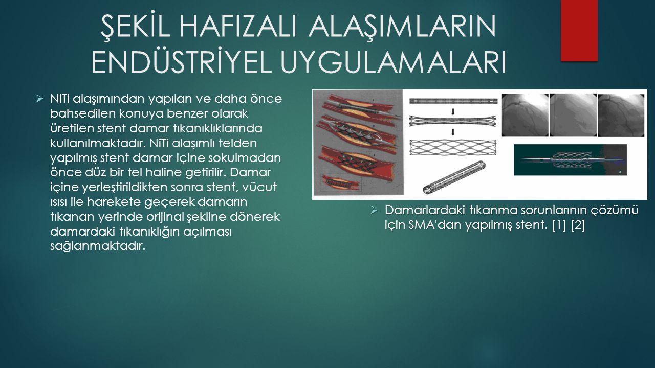 ŞEKİL HAFIZALI ALAŞIMLARIN ENDÜSTRİYEL UYGULAMALARI  Damarlardaki tıkanma sorunlarının çözümü için SMA'dan yapılmış stent. [1] [2]  NiTi alaşımından