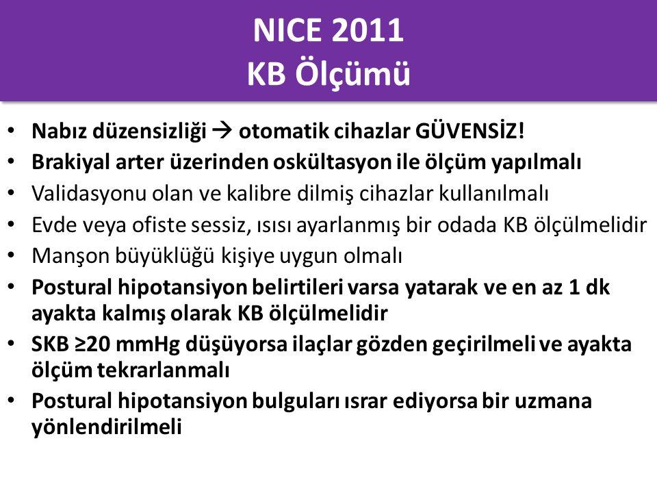 NICE 2011 KB Ölçümü Nabız düzensizliği  otomatik cihazlar GÜVENSİZ! Brakiyal arter üzerinden oskültasyon ile ölçüm yapılmalı Validasyonu olan ve kali