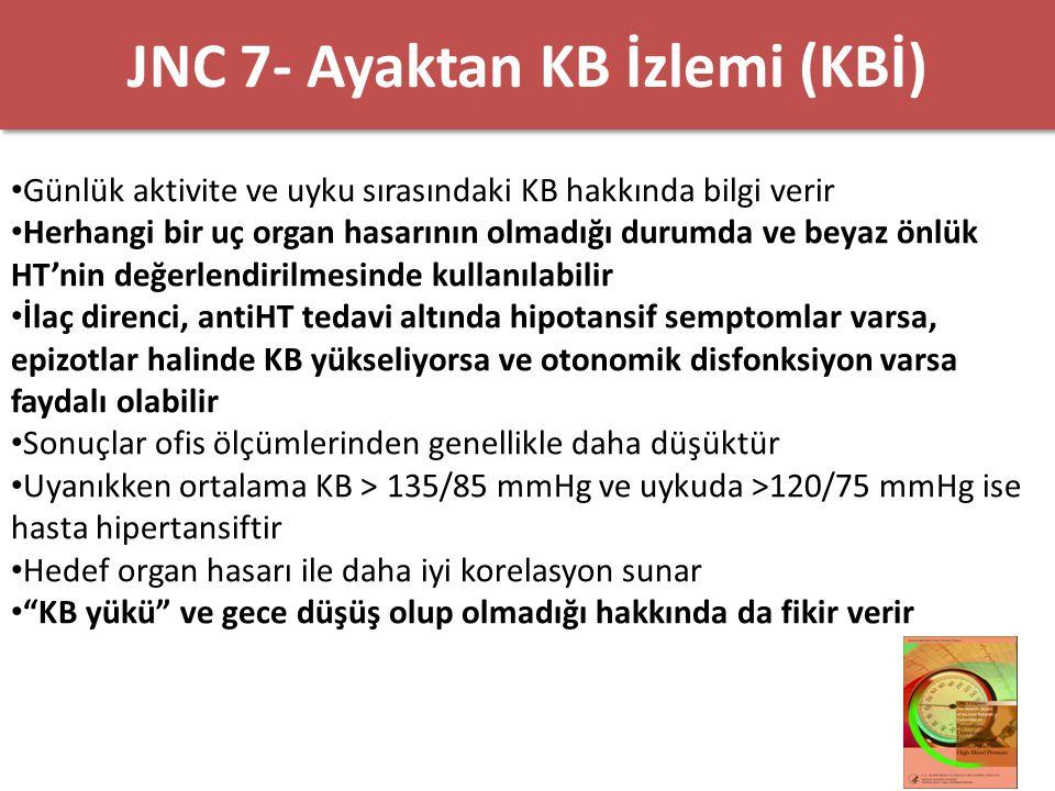 JNC 7-Kendi Kendine KB Ölçümü Antihipertansif tedaviye yanıtı ve tedaviye uyumu arttırabilir Beyaz önlük HT' nin değerlendirilmesinde kullanılabilir Ortalama KB evde >135/85 mmHg olan kişi hipertansif olarak kabul edilir Ev ölçümlerinde kullanılan cihazlar düzenli olarak kontrol edilmelidirler