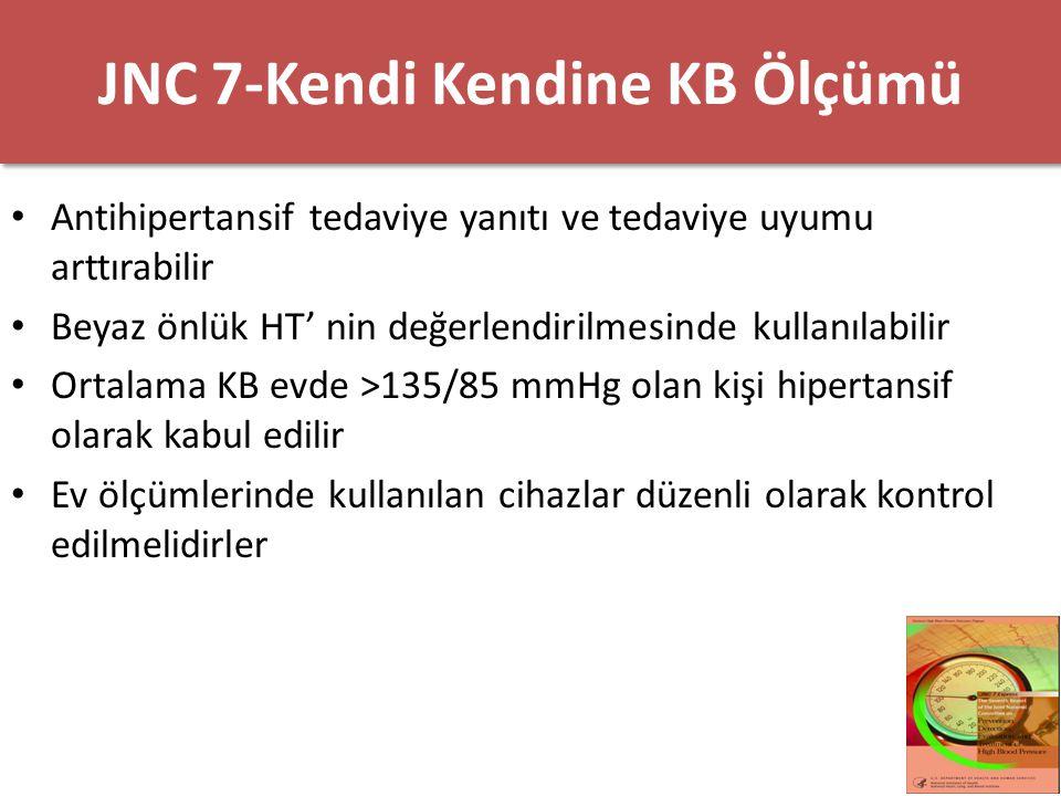 JNC 7-Kendi Kendine KB Ölçümü Antihipertansif tedaviye yanıtı ve tedaviye uyumu arttırabilir Beyaz önlük HT' nin değerlendirilmesinde kullanılabilir O