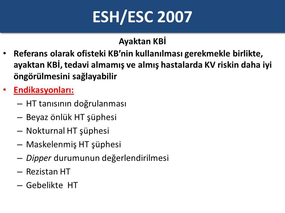 ESH/ESC 2007 Evde KBİ Evde kendi kendine yapılan KB ölçümünün klinik değeri vardır ve prognostik anlamı artık gösterilmiştir Bu ölçümler şu amaçlarla desteklenmelidir: – Tedavinin etkinliğini ve doz aralığının uygunluğunu kontrol etmek için – Hastanın tedaviye uyumunu arttırmak için – Ayaktan KBİ'ye teknik veya çevresel nedenlerle güvenilmeyen durumlarda Evde KBİ'den vazgeçilmesi gereken durumlar: – Ölçümler hastada anksiyeteye neden oluyorsa – Hastanın tedavi rejimine müdahale etmesine neden oluyorsa Doktora gitmeden önce 1 hafta KB takibi önermektedir Bir haftalık KB ölçümü yaparken dikkat edilmesi gereken noktalar: – KB sabah ve akşam 1-2 dakika ara ile ikişer kez ölçülmelidir (günde 4 ölçüm)