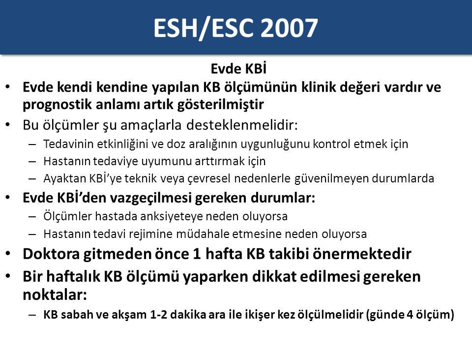 ESH/ESC 2007 Evde KBİ Evde kendi kendine yapılan KB ölçümünün klinik değeri vardır ve prognostik anlamı artık gösterilmiştir Bu ölçümler şu amaçlarla