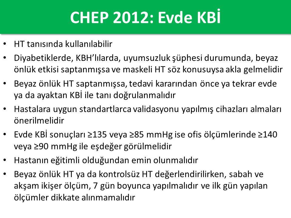 CHEP 2012: Evde KBİ HT tanısında kullanılabilir Diyabetiklerde, KBH'lılarda, uyumsuzluk şüphesi durumunda, beyaz önlük etkisi saptanmışsa ve maskeli H