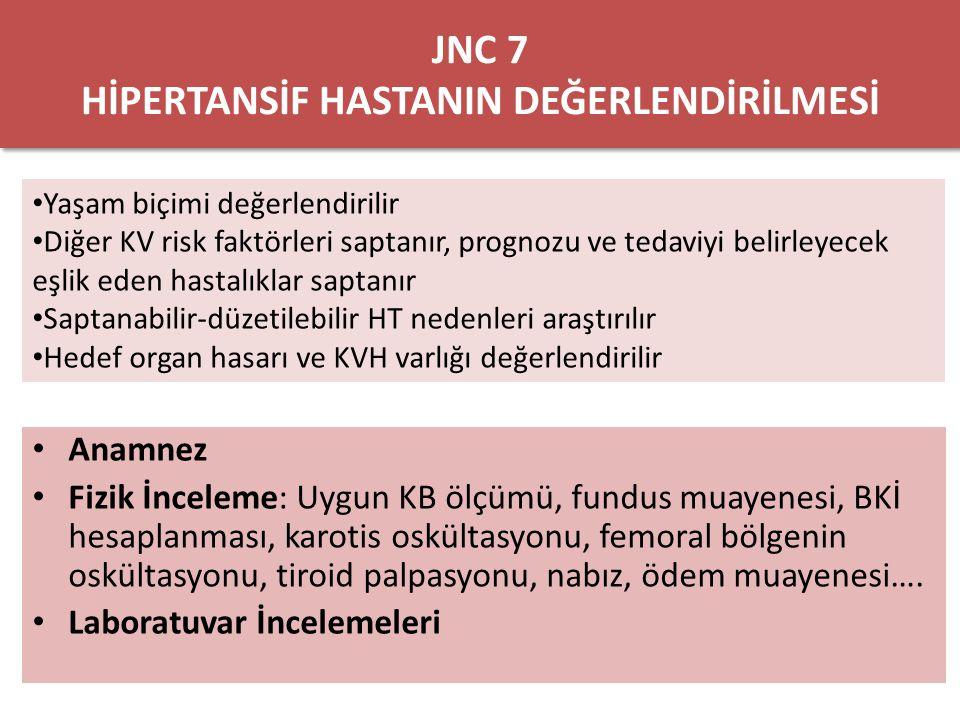 Laboratuvar incelemeleri – EKG – İdrar incelemesi – Kan şekeri – Hematokrit –K–K – Krea – GFH tahmini – Ca – Lipid profili (9-12 saat açlıktan sonra) – Opsiyonel testler: alb/krea – KB kontolünün sağlandığı durumda, sekonder HT nedenleri için ileri inceleme önerilmez JNC 7 HİPERTANSİF HASTANIN DEĞERLENDİRİLMESİ
