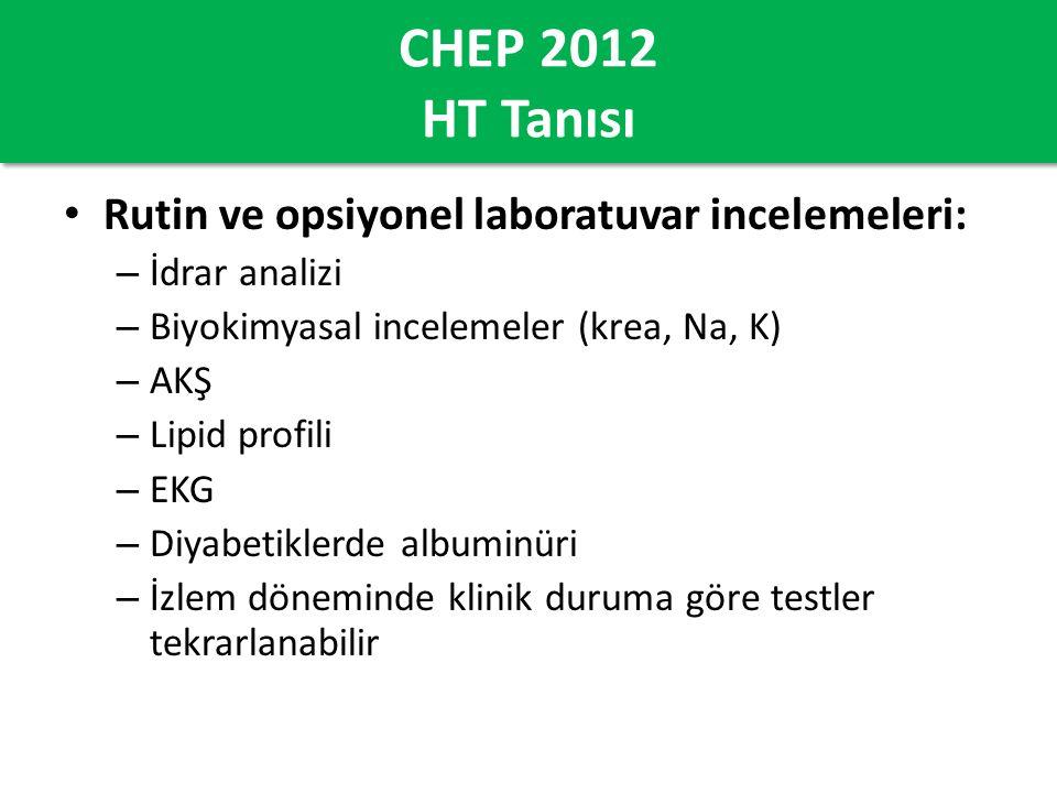 CHEP 2012 HT Tanısı Rutin ve opsiyonel laboratuvar incelemeleri: – İdrar analizi – Biyokimyasal incelemeler (krea, Na, K) – AKŞ – Lipid profili – EKG