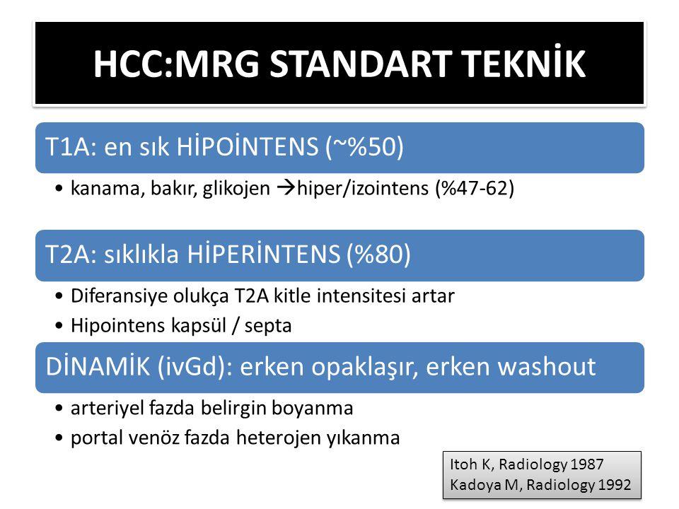 T1A: en sık HİPOİNTENS (~%50) kanama, bakır, glikojen  hiper/izointens (%47-62) T2A: sıklıkla HİPERİNTENS (%80) Diferansiye olukça T2A kitle intensitesi artar Hipointens kapsül / septa DİNAMİK (ivGd): erken opaklaşır, erken washout arteriyel fazda belirgin boyanma portal venöz fazda heterojen yıkanma HCC:MRG STANDART TEKNİK Itoh K, Radiology 1987 Kadoya M, Radiology 1992 Itoh K, Radiology 1987 Kadoya M, Radiology 1992