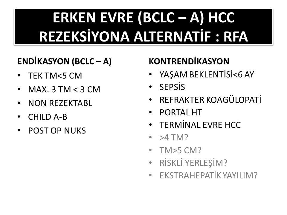 ENDİKASYON (BCLC – A) TEK TM<5 CM MAX.