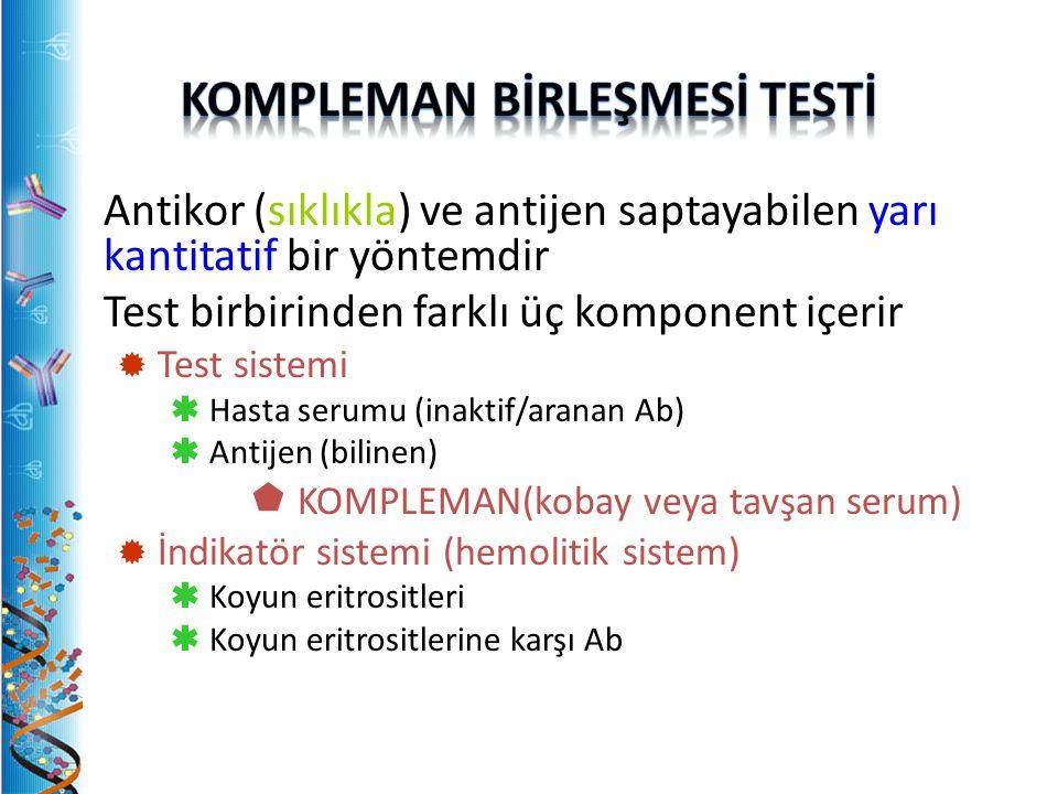 Antikor (sıklıkla) ve antijen saptayabilen yarı kantitatif bir yöntemdir Test birbirinden farklı üç komponent içerir  Test sistemi  Hasta serumu (inaktif/aranan Ab)  Antijen (bilinen)  KOMPLEMAN(kobay veya tavşan serum)  İndikatör sistemi (hemolitik sistem)  Koyun eritrositleri  Koyun eritrositlerine karşı Ab